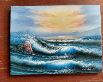 Vintage handmade original signed oil painting of the ocean and beach, waves, sunrise, sea