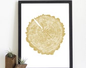 Hand-pulled stump print: Spring Hollow gold