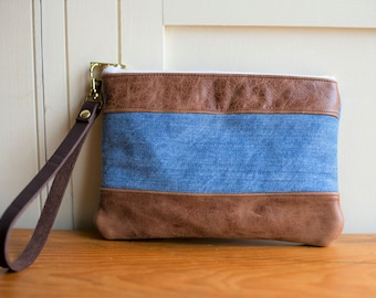 Leather bag, leather clutch, leather purse, leather wrist purse, wristlet, leather wristlet