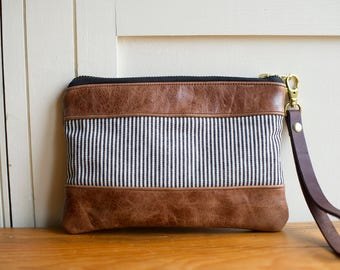 Leather clutch, wristlet wallet, leather purse, leather wristlet, clutch bag, leather bag