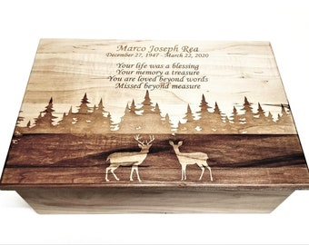 Heartwood Engagement Ring Box Deer Themed Gift Engraved Deer Square Ring Box Wedding Ring Box Wood Little Wooden box with Hinged lid