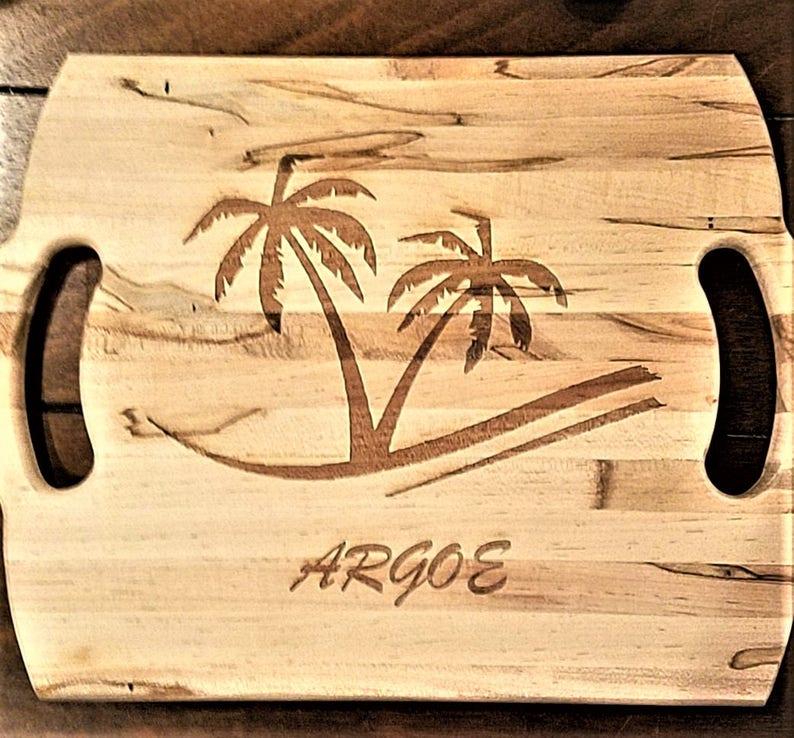 Personalized Custom Palm Tree Cutting Board Wood Laser Burned Cutting Block Chef Gift Beach Cutting Board kitchen decor hand made board