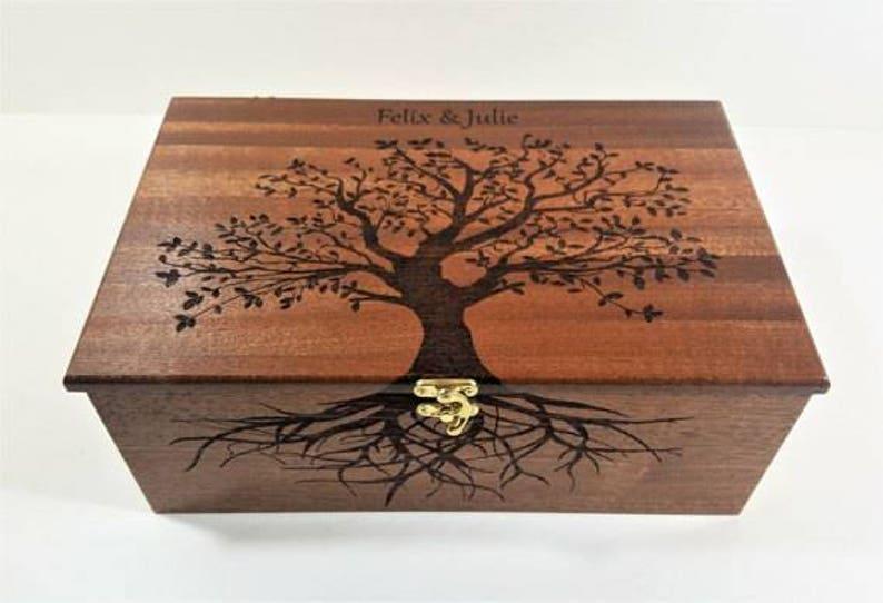 Premium Wood Custom Personalized Tree of Life Memory Box Mahogany Top&Inside