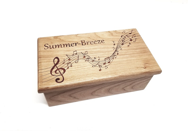 Personalized Music Notes Music Box Choose Your Song Laser Cherry-EngTop&Insd