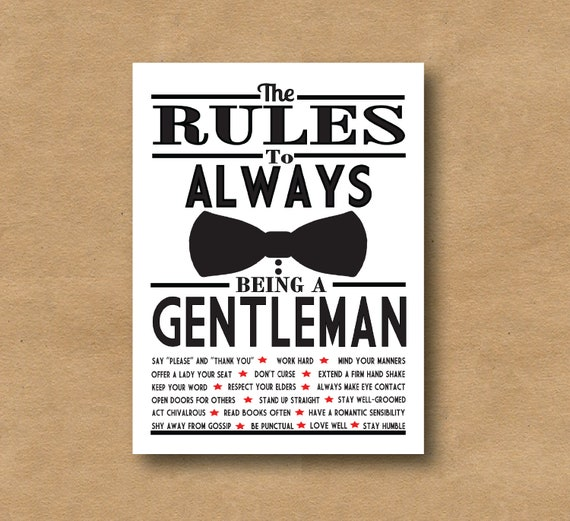 The rules of being a gentleman