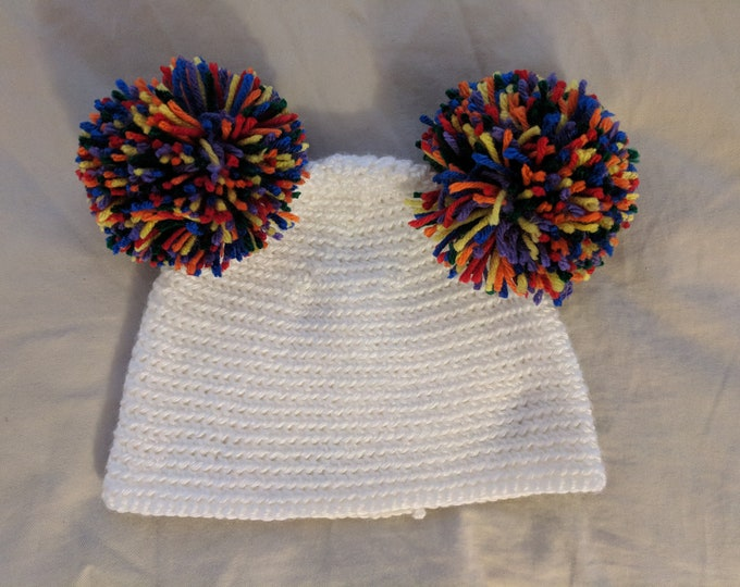 Rainbow Pigtail Poofball Crocheted Hat