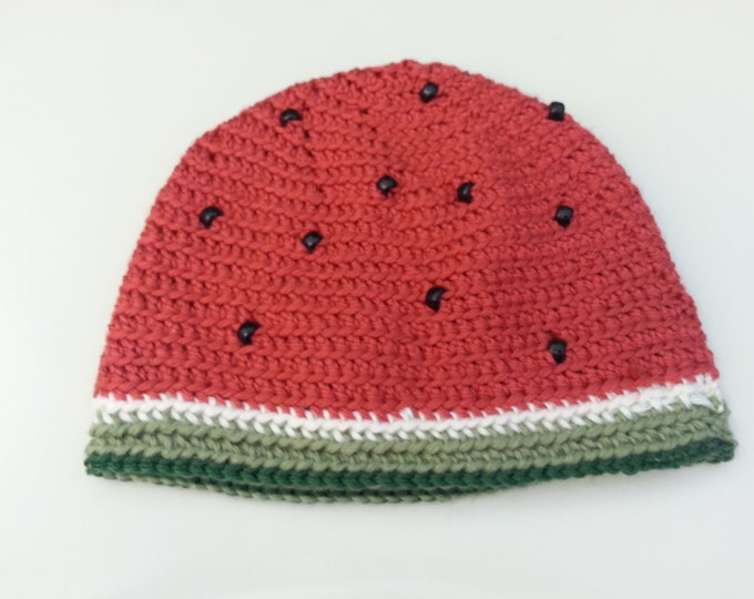 Watermelon Crocheted Hat with Beaded Seeds