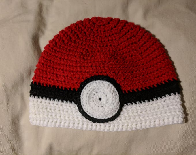 PokeBall Crocheted Hat