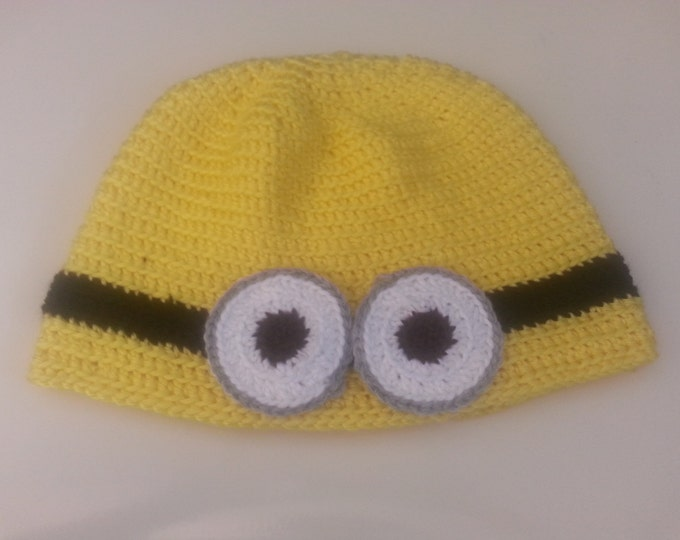 Yellow or Purple Minion Crocheted Hat