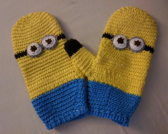 Minion Crocheted Mittens