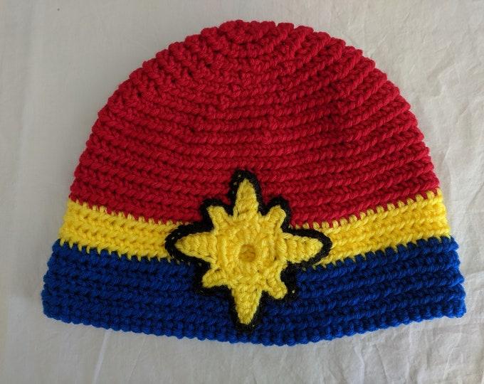 Captain Marvel Crocheted Hat