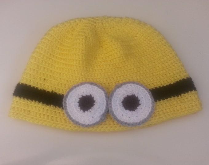 Yellow or Purple Minion Crocheted Hat