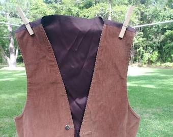 Reversible Brown corduroy and tweed vest