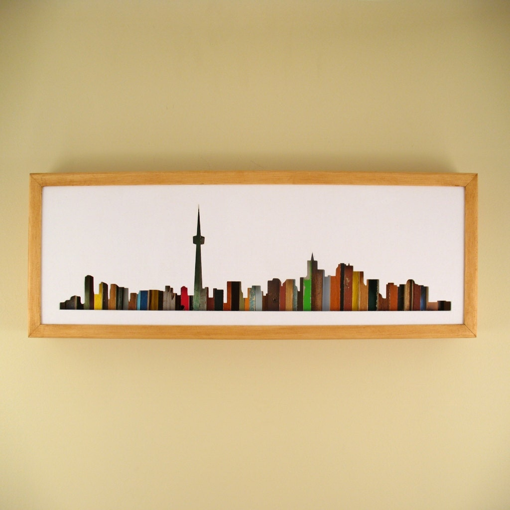 Toronto Skyline 24 by 8 Recycled Wood Silhouette | Etsy