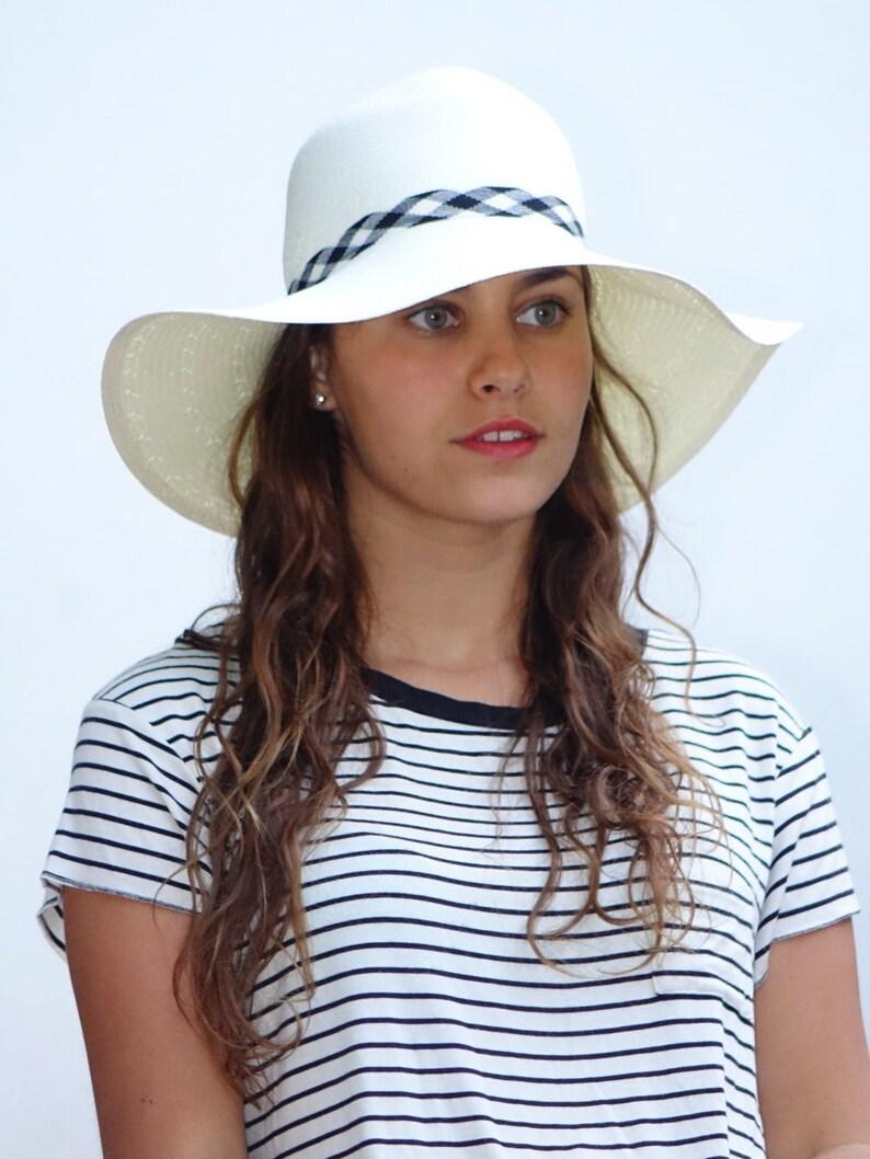 46b60a49a03 Wide brim white hat Custom hats Sun hat for women