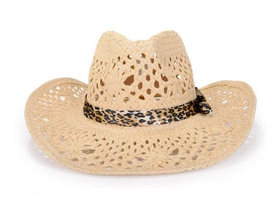 Sombrero de vaquero de paja unisex decorado con una cinta de  6d3e006c2d9