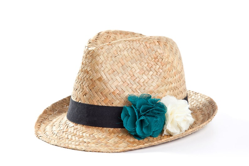 60090ac89bf21 Fedora hat Straw hat Hats for women with twin flowers