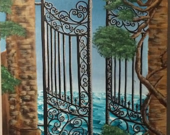 """16"""" x 20"""" Suitenumber """" Gates to the Waves"""" Acrylic Painting"""