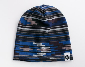 0a90f841c86 Blue Southwestern Print Baby and Toddler Slouch Beanie