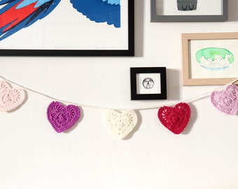 Crochet heart bunting - proceeds to charity