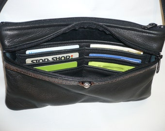 LEATHER CROSSBODY BAG With Organizer Style #813