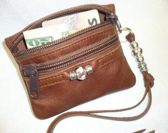Leather Coin,Credit,and Bill beaded case with Beaded Key Chain or Zipper Charm