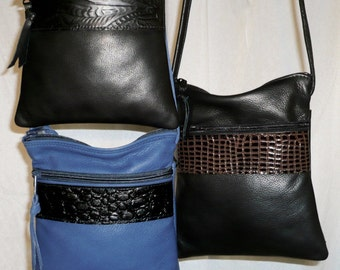 2 tone  leather crossbody and shoulder bag.Style #907