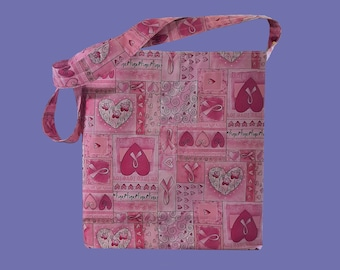 Washable Shopping Bag, Reusable Grocery Bag, Cotton Shopping Bag, Cloth Grocery Bag, Shopping Tote, Grocery Tote, Breast Cancer Awareness