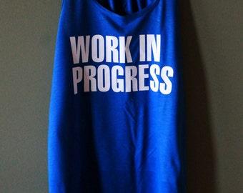 WORK IN PROGRESS Workout Tank - Royal Blue - White Text