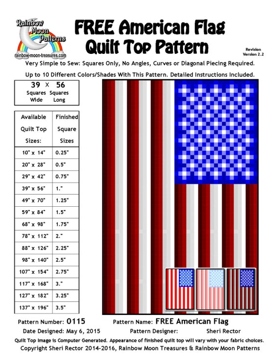 0115 American Flag Quilt Pattern Etsy