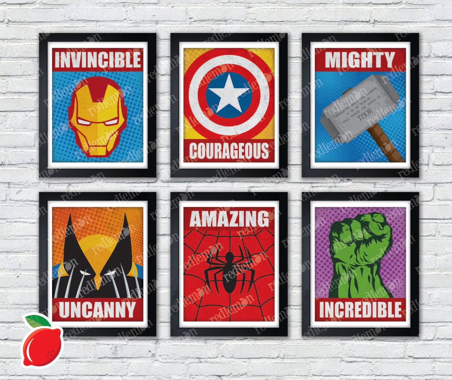Marvel Comic Book Superhero Icons Print FULL SET | Etsy