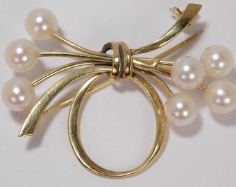 d28f3ef95 14K MIKIMOTO Vintage 6mm Japanese Cultured Pearl Brooch Pin ~ 8.8 grams