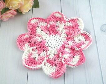 Flower Dishcloth, Crocheted Dishcloth