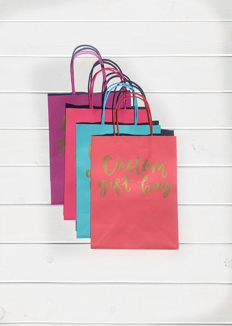 Custom gift bag personalized gift bag hand lettered custom gift bag bridesmaid gift bag name custom paper bag personalized name giftbag