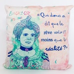 "Pillow case Éva Circe side 18 x 18 "", velvet, colorful, feminist pink quote"