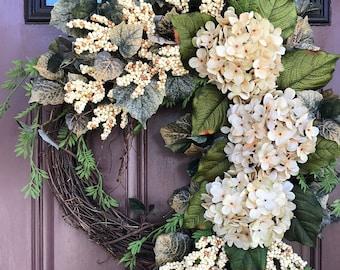 Farmhouse Wreath, Hydrangea Wreath, Front Door Wreath, Ivory Hydrangea Wreath, Summer Wreath, Neutral Wreath