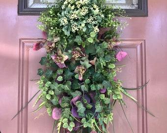 Genial Spring Greenery Door Swag, Front Door Swag Wreath, Vertical Teardrop Swag, Front  Door Decor