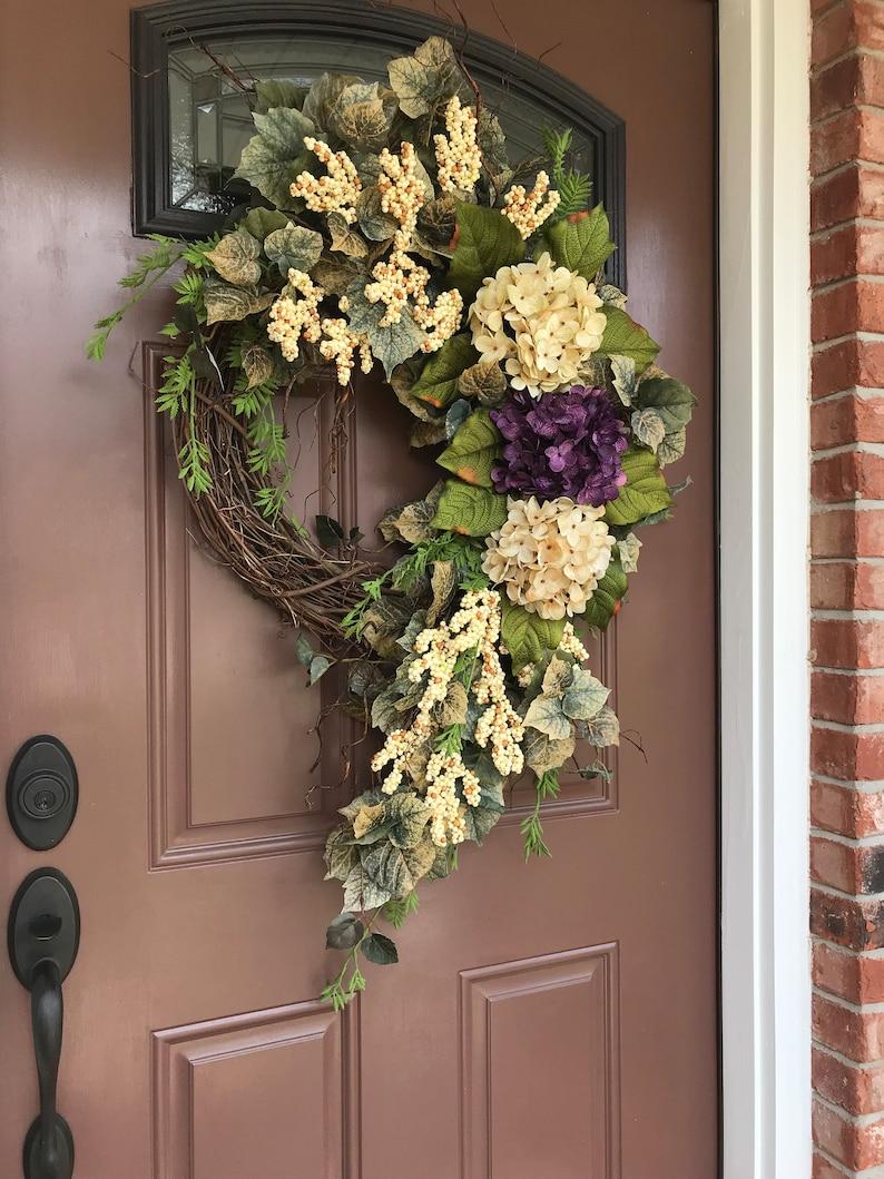 Summer Wreath Hydrangea Wreath Grapevine Wreath Elegant Wreath Front Door Wreath