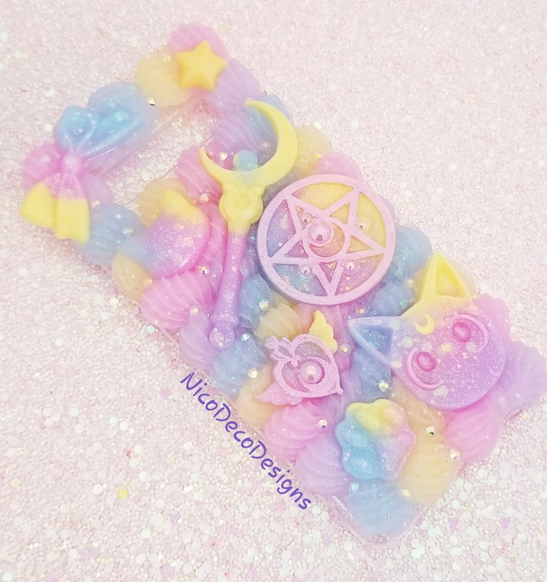 premium selection fd7a5 2c52a Sailor Moon Luna pastel rainbow decoden phone case Samsung s10+