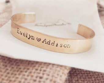 Brass Adoption Bracelet Cuff Stackable Personalized Hand Stamped