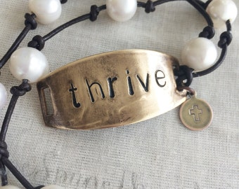 Thrive pearl and leather bracelet FREE SHIPPING