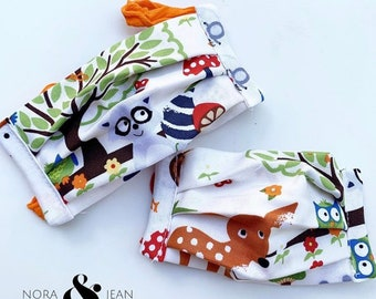 Folksy Boho Woodland Children's Mask for Back to School in 2 Sizes  reversible reusable washable