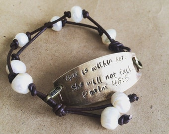 Psalm 46:5 Leather, Pearl, & Heavy Brass plate Be Strong and Courageous FREE SHIPPING
