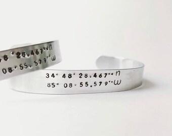 Hand Stamped Coordinates Cuff Bracelet Aluminum