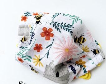 Honey Bee Handmade Mask Small Child washable reversible reusable