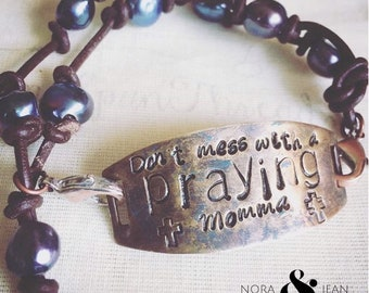 Praying Momma Hand Stamped Custom Personalized Leather Pearl Brass Bracelet Gift Mother