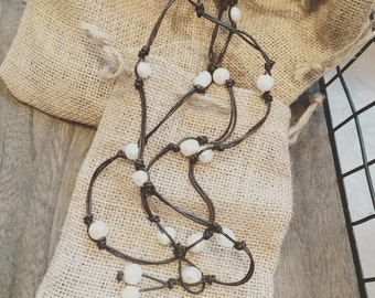 Long Leather and Pearl Necklace