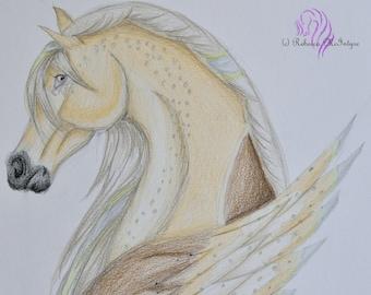 Original Colored Pencil Fantasy Horse Drawing