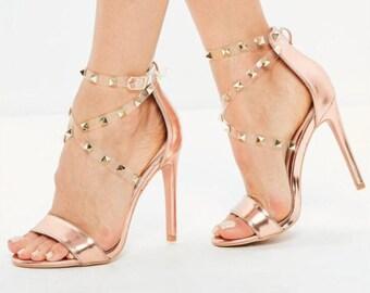 Strap Studded Heels