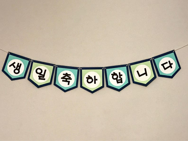 Korean Happy Birthday Banner  생일 축하합니다 image 0